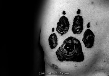 Masculine Back Of Leg Calf Loup encre Paw Noir négatifs Tatouages Espace
