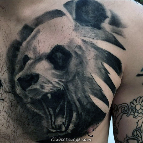 Masculine Forearm Panda Bear Chewing Tattoo usine pour les hommes