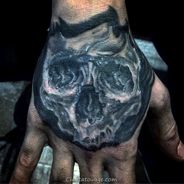 width Tattoo Manly Skull Hommes Hand