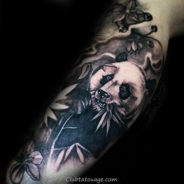 masculine Mens Shaded Panda Tattoo sur Upper Chest