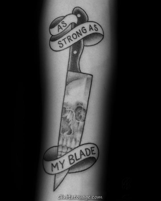 Mens Shaded noir et gris d'encre couteau de chef Tattoos