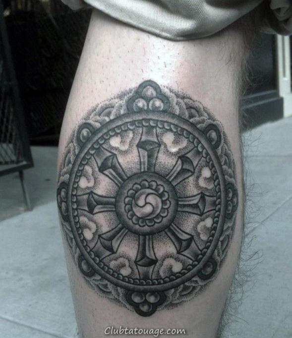 Mens Retour Motif Leg Géométriques roue ou Dharma Tattoos
