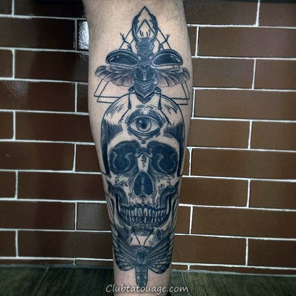 Mens Skull Moth Inner bras Biceps Tattoo Design Ideas