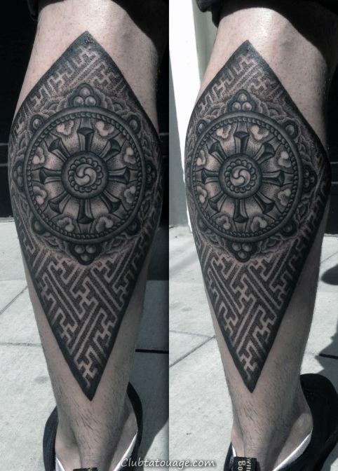width Hommes Bouddha Dharma Wheel Tattoo Sleeve Full