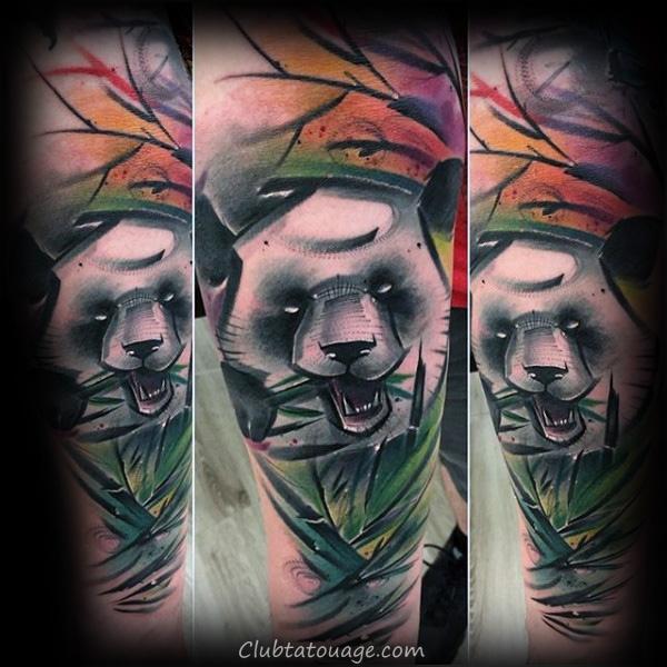 Hommes Étoile nautique Avec Panda Abstract omoplate Tattoos