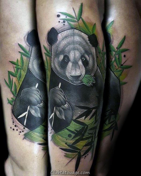 Ours Panda Shaded Hommes Avec Noir Et Gris Ink Tattoo sur le bras