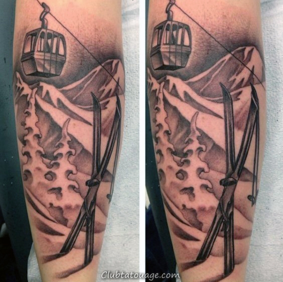 Hommes Crâne avec Ski Crossbones Montagne Aquarelle Leg Tattoos