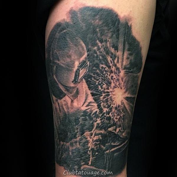 réalistes Guys Souder Soudeur Forearm Tatouages Avec Shaded noir et gris d'encre Design