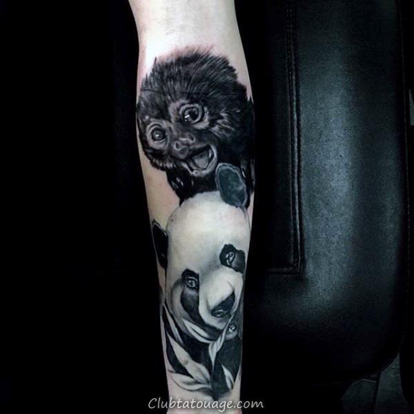 négatifs Tatouages Espace pour les hommes de Panda Bear Aquarelle Design