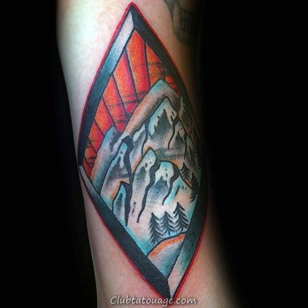 Montagnes Avec Skis Hommes Forearm Tattoo