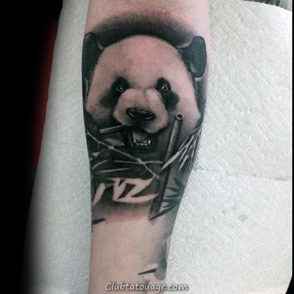 Neo traditionnels Panda Skull Collier Hommes Forearm Tattoos