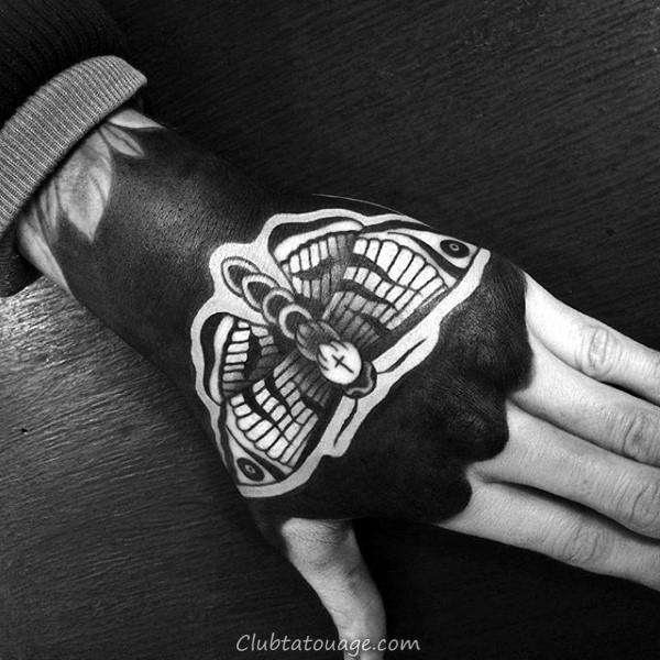 Old School Retro Hommes Moth Forearm Tattoo Design Ideas