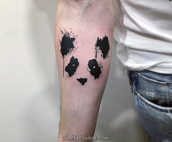 Paint Brush Stroke Homme Panda Retour Tatouages 