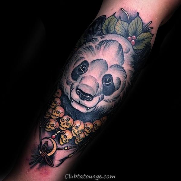 Panda Bear dans l'arbre Mens Rib Cage Side Tattoo Ideas