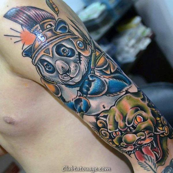 Panda Bear Outline Avec Mens Forêt moderne Cuisse Tattoo Designs