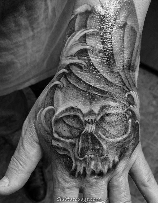 Ocean Waves skull Shaded Hommes main Tatouages ​​