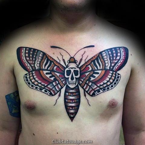 Outer Forearm Moth Avec Négatif Espace Lunes Hommes Tattoo Ideas