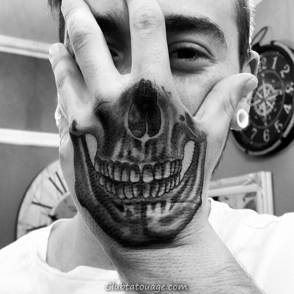 Illusion optique Half Of Mens Main Tattoo Skull Designs