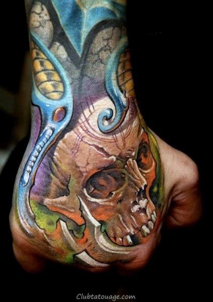 Crâne orange Hommes main Colorful Idées de tatouage