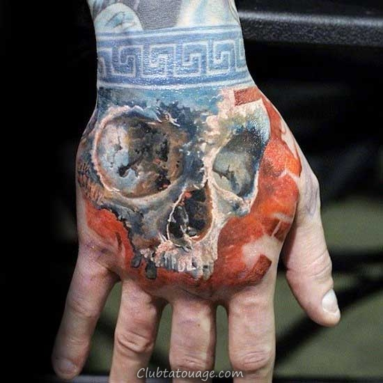 Orange Avec la main Tattoo Blue Skull Wrist Band Mens Designs