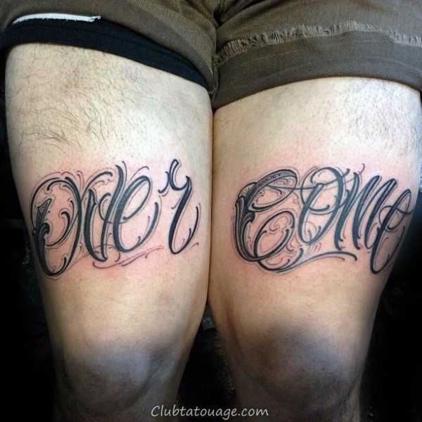 Over Come Hommes Lettrage Force cuisse Tattoos