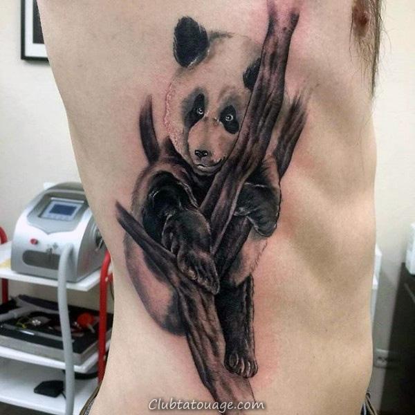 Ours Panda Avec Aquarelle Leaves Hommes Forearm Tattoos