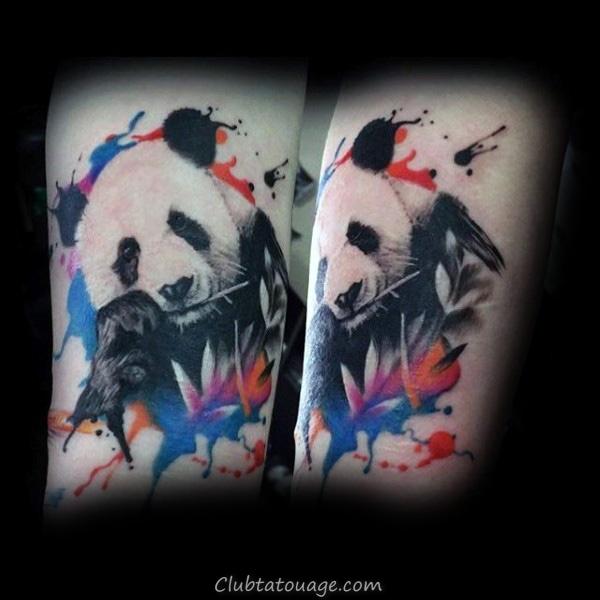 Panda Avec Arrows Hommes Forearm Tattoos