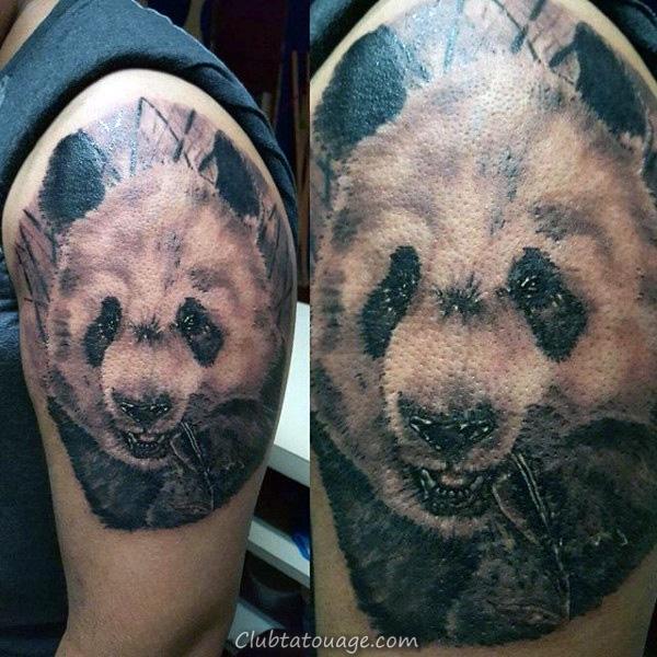 Panda Avec branche masculine Upper Arm Tattos