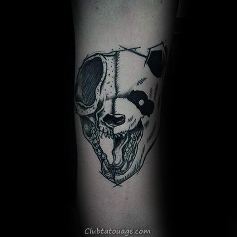 panda avec Fleurs Hommes Forearm Tatouages 