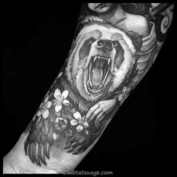 motif Hommes panda bear Forearm Tatouages 