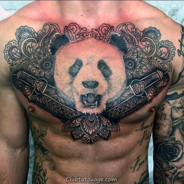 réaliste blanc et encre noire Hommes Panda main Tatouages