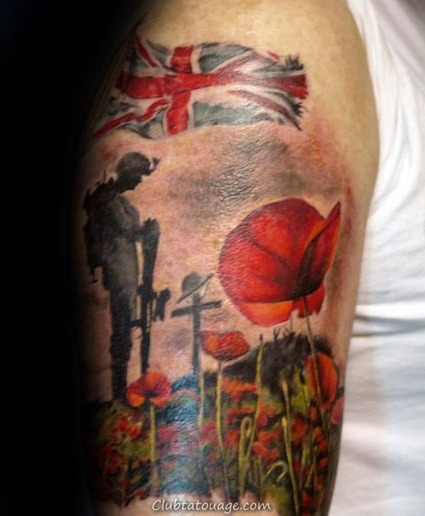 Réaliste Baseball Hommes Memorial retour Tattoos