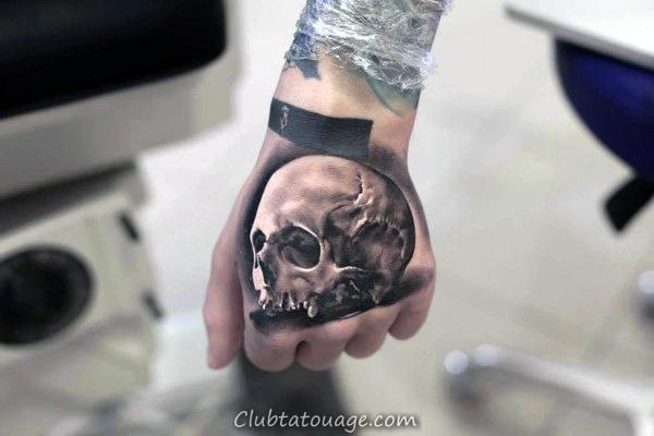 width Hommes main Tattoo réaliste Skull Anatomical 3d