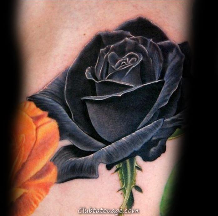 réaliste Rose Noire avec des gouttelettes d'eau Mens main Tatouages