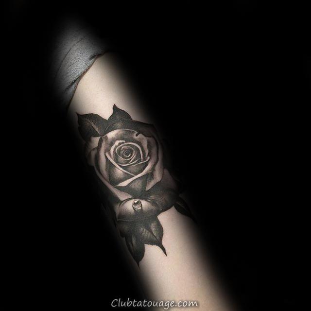 Shaded Black Rose Arm guys Tattoos
