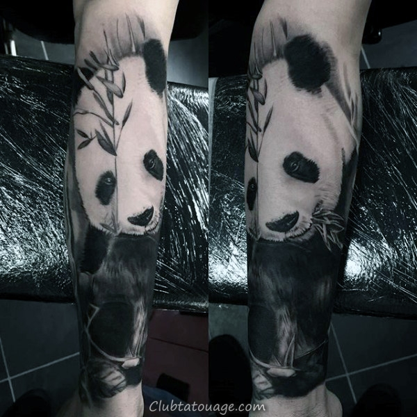 Shaded noir et gris Guys manches Panda Tattoo