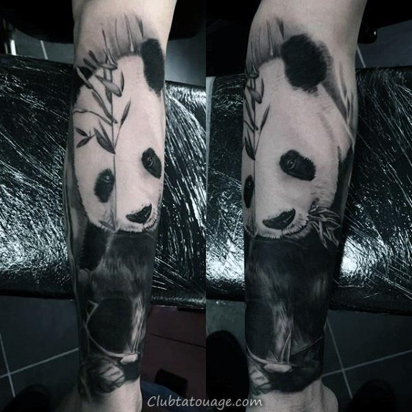 Shaded noir et gris Guys manches Panda Tattoo