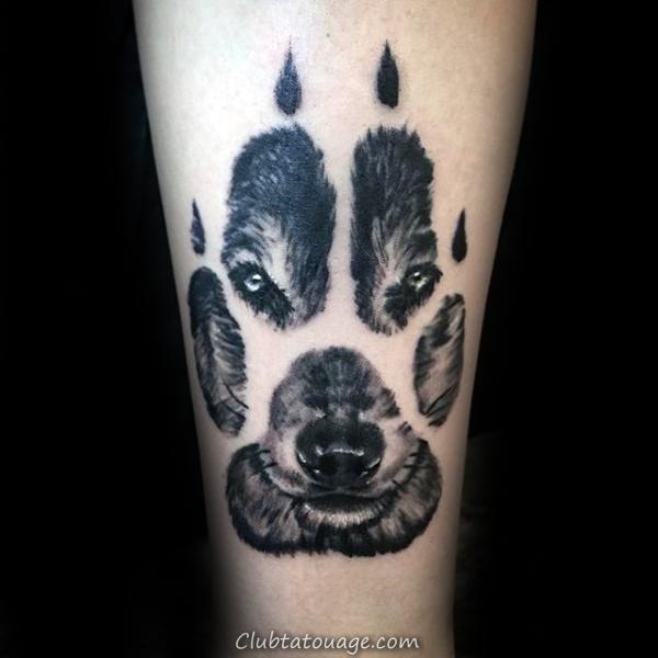 width Petit Simple Loup Paw Forearm solide Tattoo encre noire sur Guy