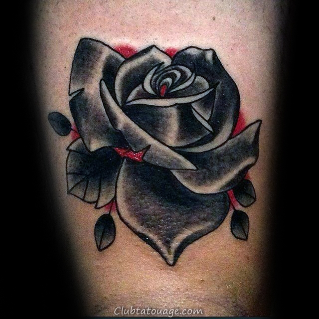 Shaded Flower Black Rose Tattoo Old School Male