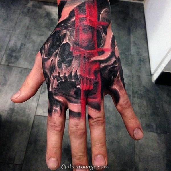 Ink Stroke Red Brush Plus de main Tatouages crâne pour les hommes
