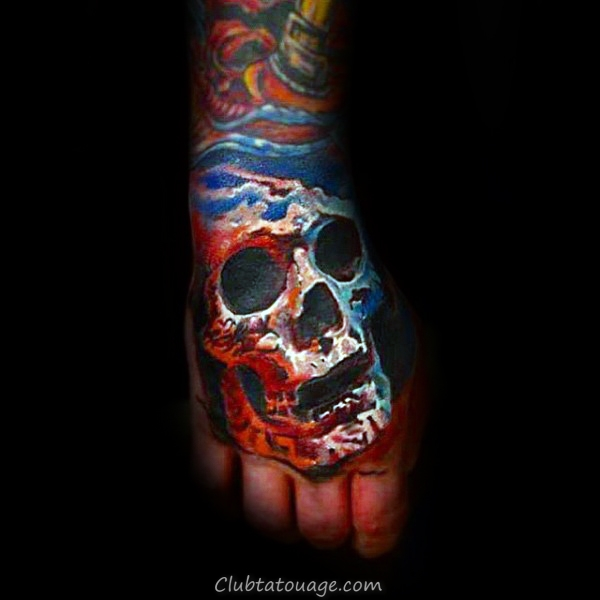 Red White And Blue Skull main Tatouages ​​pour les gars