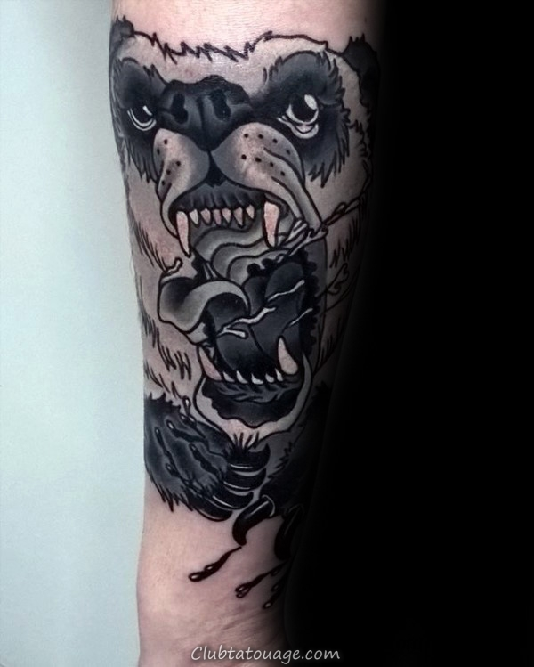 Shaded Sketch Panda Inner Arm Biceps Tatouages ​​Pour Guys