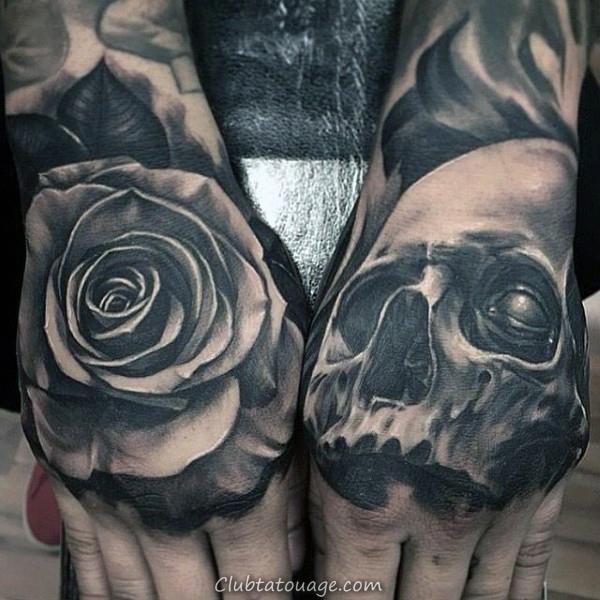 Fleur Rose et crâne avec la main Hommes yeux Tatouages