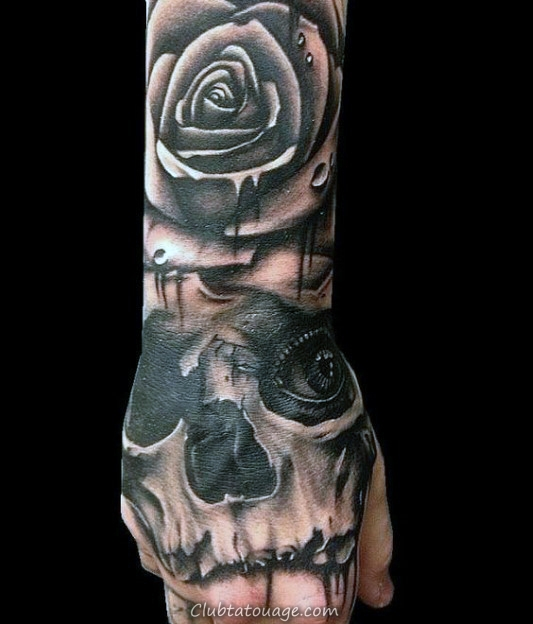 Fleur Rose Tattoo Glowing bleu Skull Mens Hand