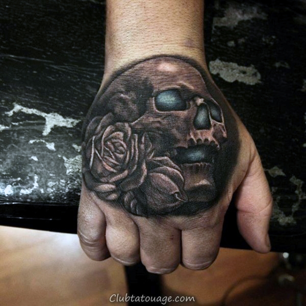 Cool Skull Tattoo Le Mans main Shaded noir et gris