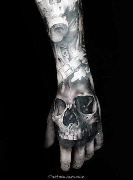 Shaded noir et gris tatouage de crâne Guys sur les mains
