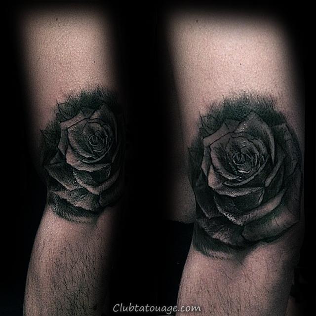 Épaules Black Rose Contour Homme Tatouages