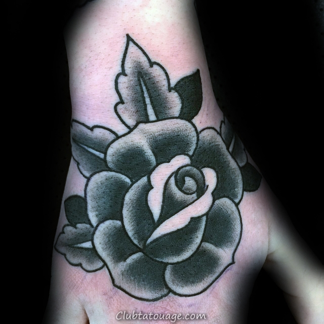simple Inspiration Black Rose Forearm Homme Tattoo