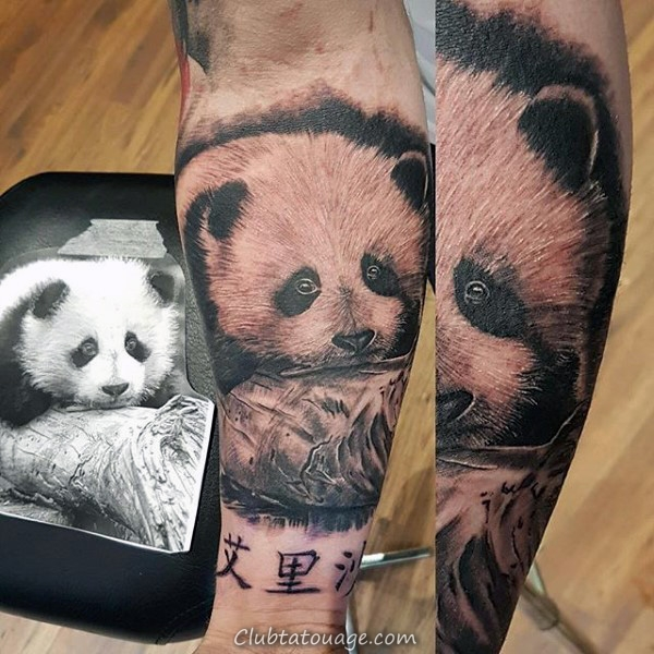 Sleeping Panda Bear Hommes Upper Arm Tattoos