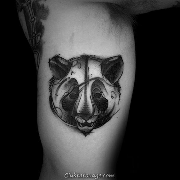 Small Circle Panda Dans Woods Mens Tattoo idées sur Inner Forearm